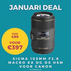 Sigma 105mm F2.8 Macro EX DG OS HSM voor Canon - januari deal