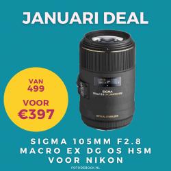 Sigma 105mm F2.8 Macro EX DG OS HSM voor Nikon - januari deal