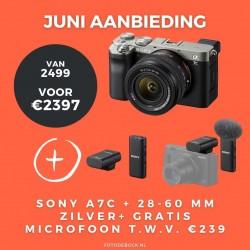 Sony A7C 28-60mm zilver + gratis microfoon t.w.v. €239,-