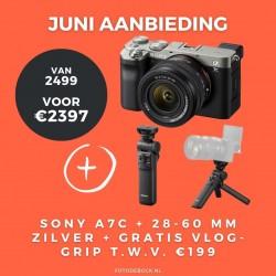 Sony A7C 28-60mm zilver + gratis vlog grip t.w.v. €119,-