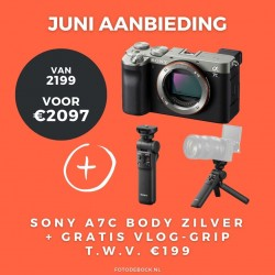 Sony A7C body zilver + gratis vlog grip t.w.v. €199,-