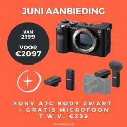 Sony A7C body zwart + gratis microfoon t.w.v. €239,-