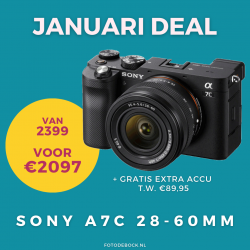 Sony A7C 28-60mm + GRATIS 2e accu t.w. €89,95 - januari deal