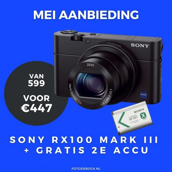 Sony DSC-RX100 Mark 3 zwart + extra 2e accu - aanbieding